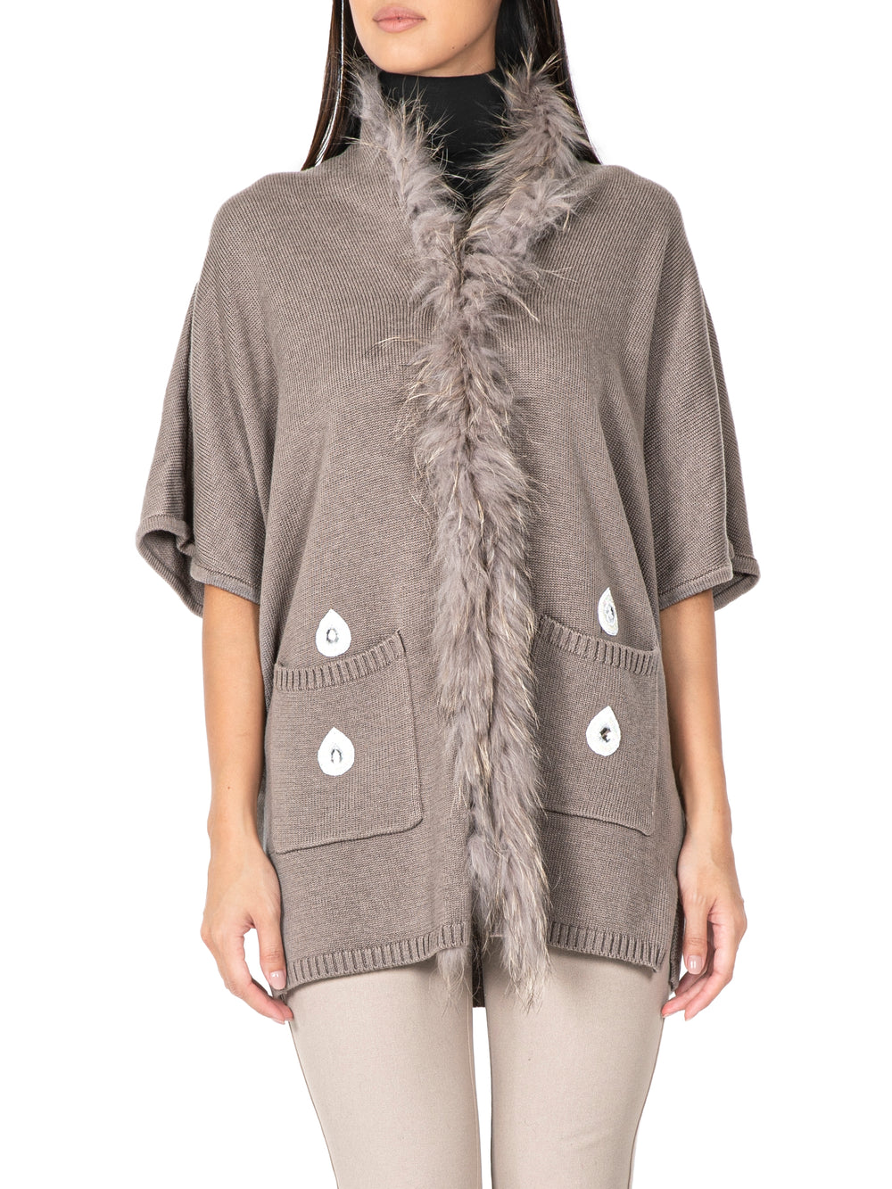 Embellished Fur-Trimmed Cashmere Jacket