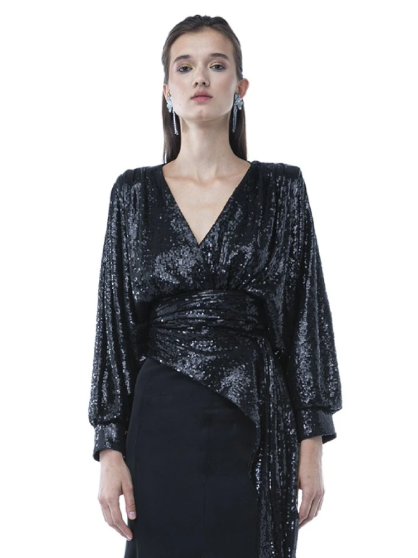 Draped Sequins Blouse With Asymmetrical Belt