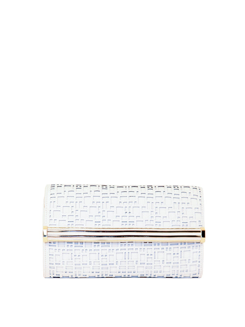 Textured Diamond Leather Clutch, IVANKA - elilhaam.com