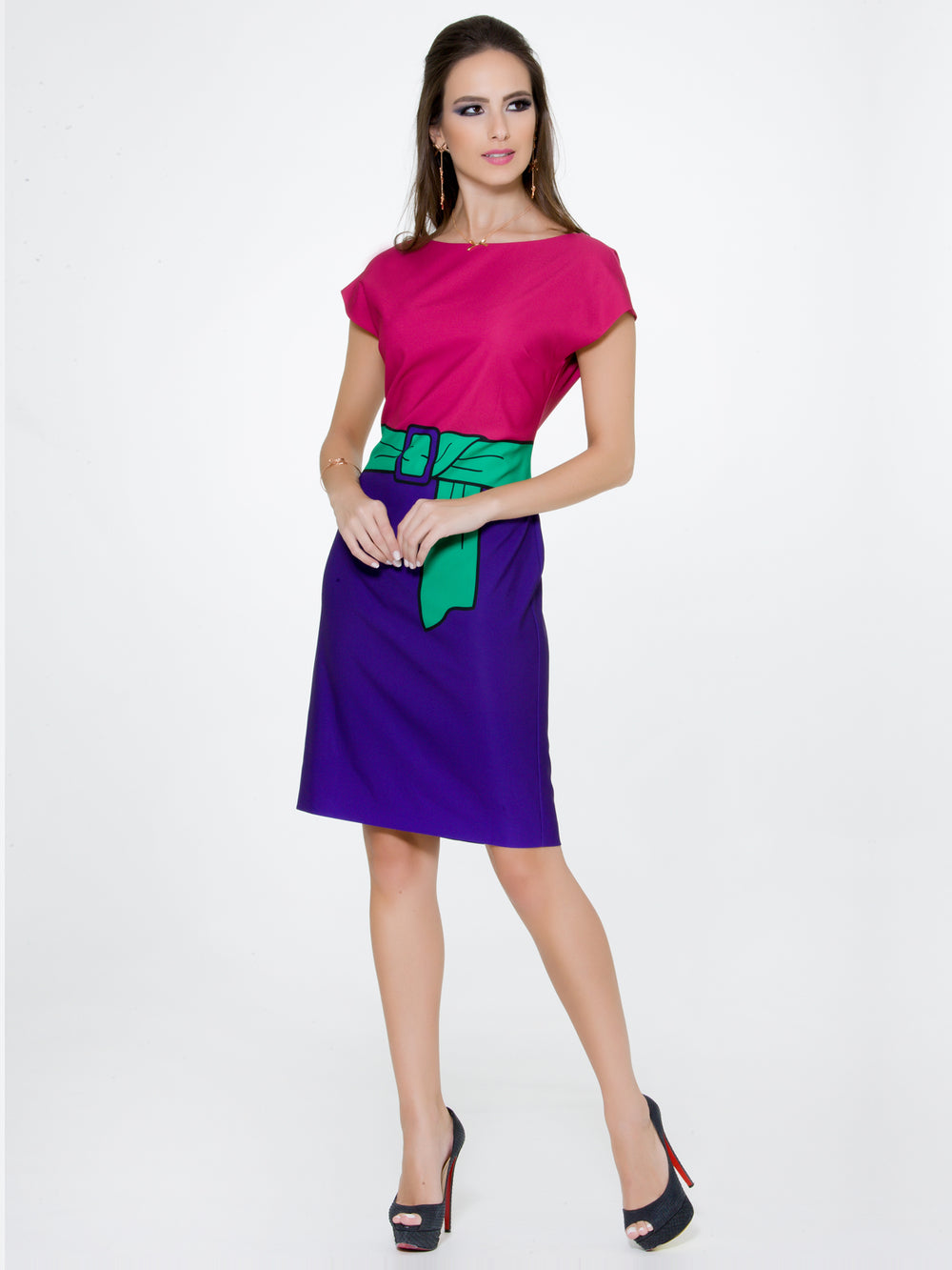 Color Block Pink Purple Dress, BOUTIQUE MOSCHINO - elilhaam.com