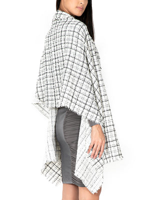 Checked Wool-Blend Wrap