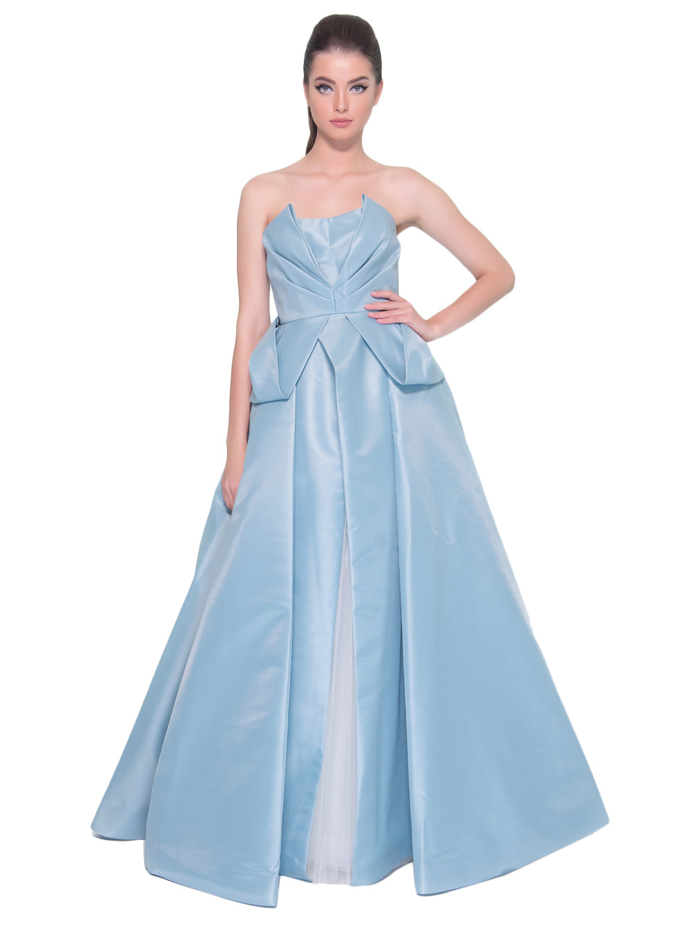 Powder Blue Taffeta Gown, DORIAN HO - elilhaam.com