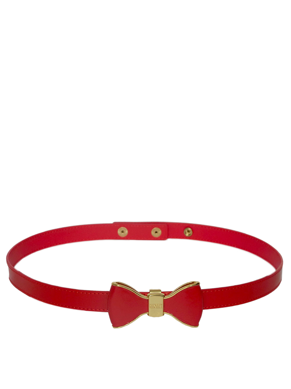 Red Metal Bow Leather Belt, Accessories,Designers, BADGLEY MISCHKA - elilhaam.com