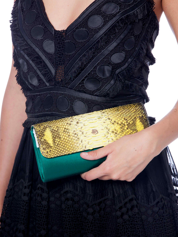 Theta Yellow/Green Python Clutch