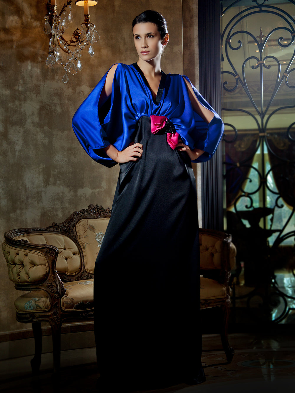 Royal Blue Crepe Satin Gown