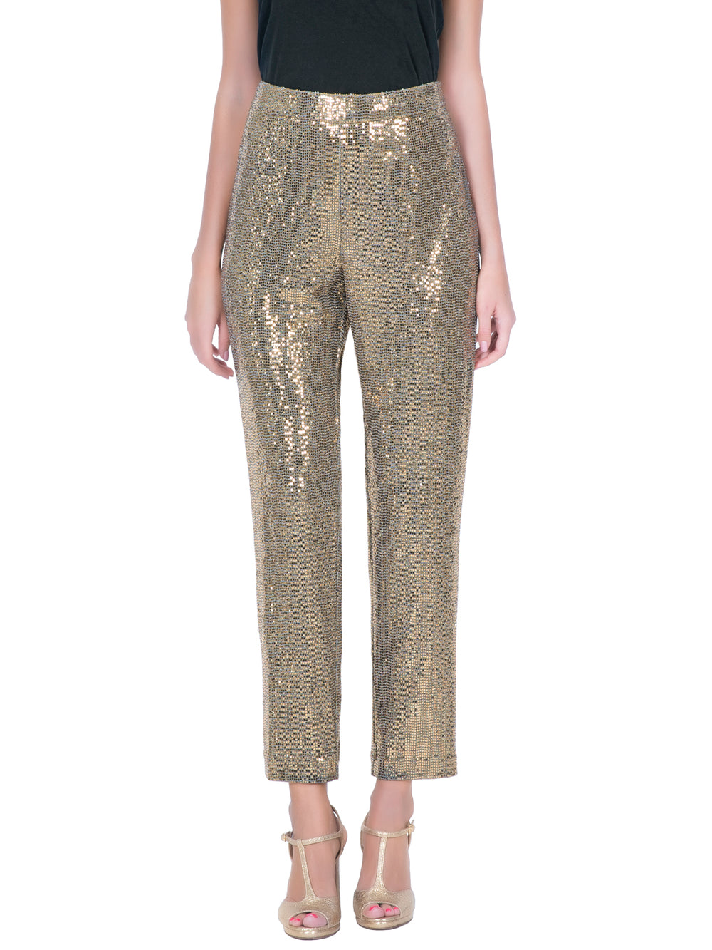Sequin Slim Fit Ankle Length Pant