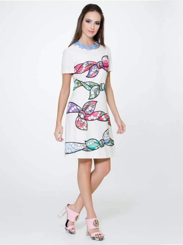 White Bow Print Dress, BOUTIQUE MOSCHINO - elilhaam.com