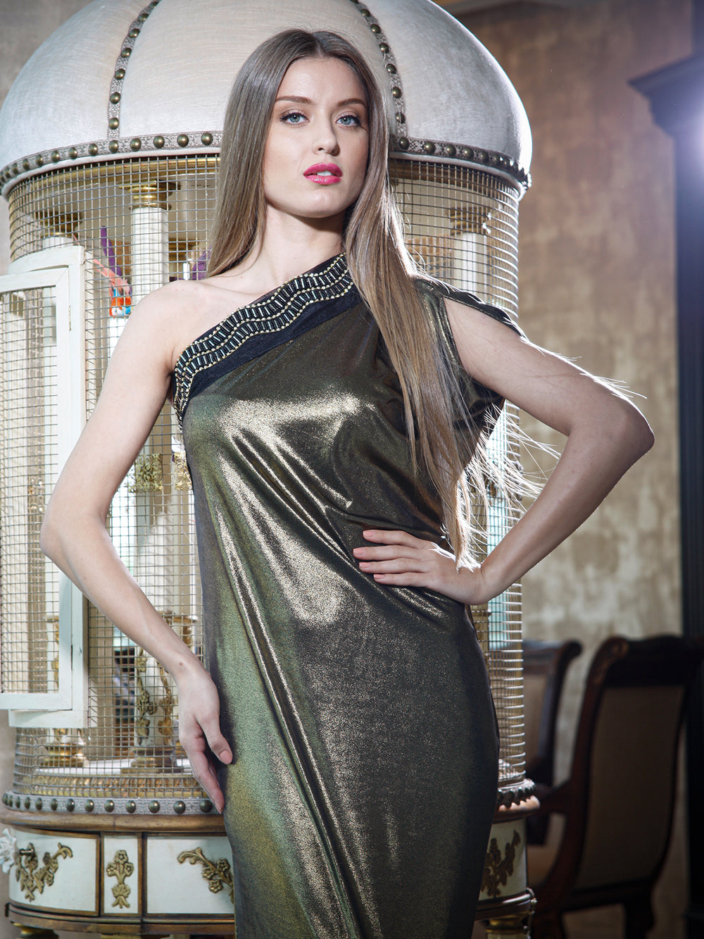 Gold Metallic One Shoulder Gown