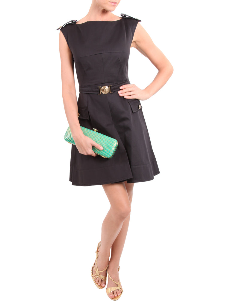 Medusa Epaulet Black Dress, VERSACE - elilhaam.com