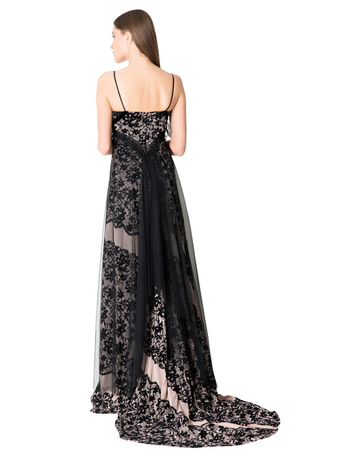 Feather embellished Dantel Gown