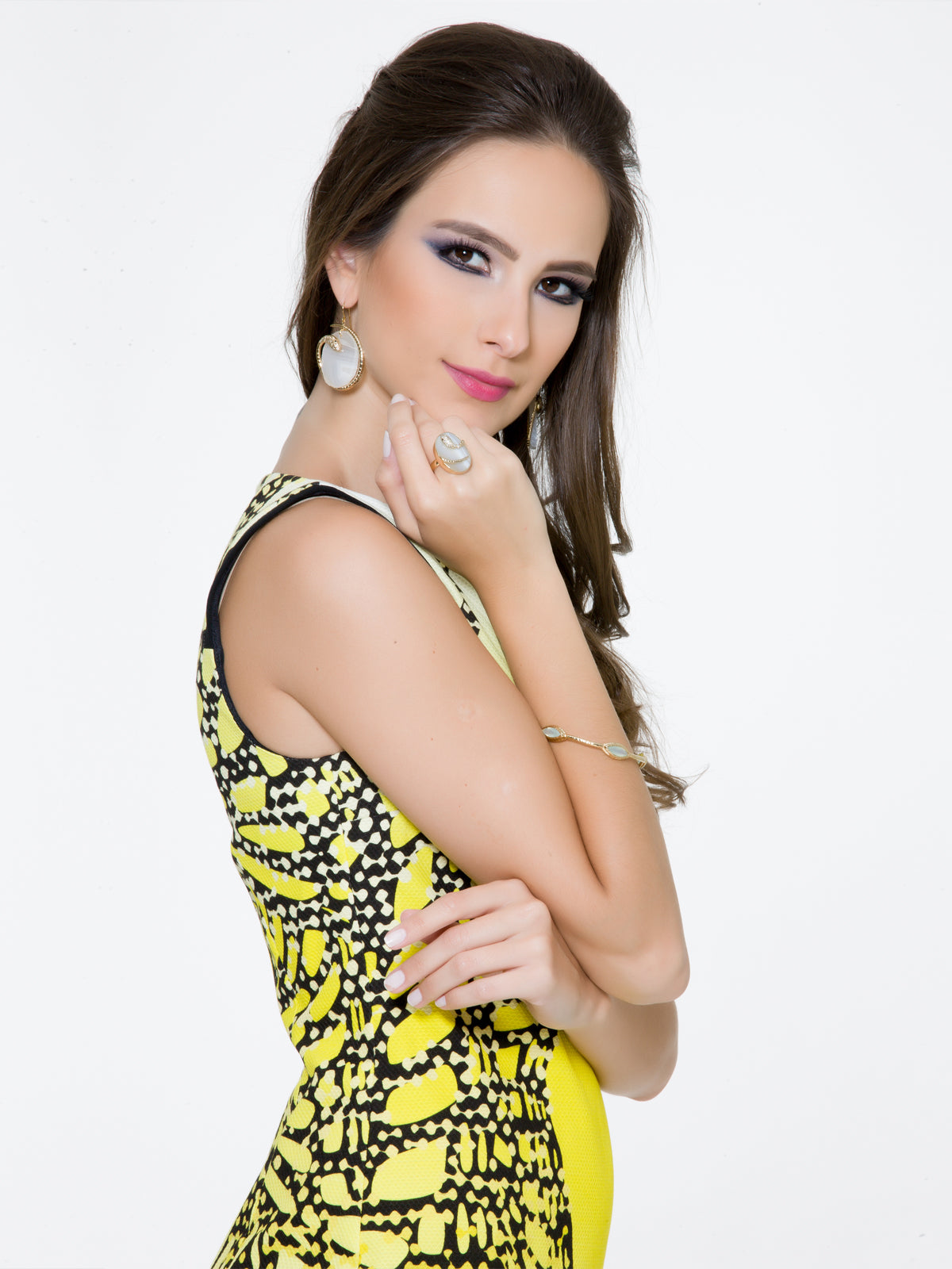 Yellow/White Dress, Clothes,Designers, BYBLOS - elilhaam.com
