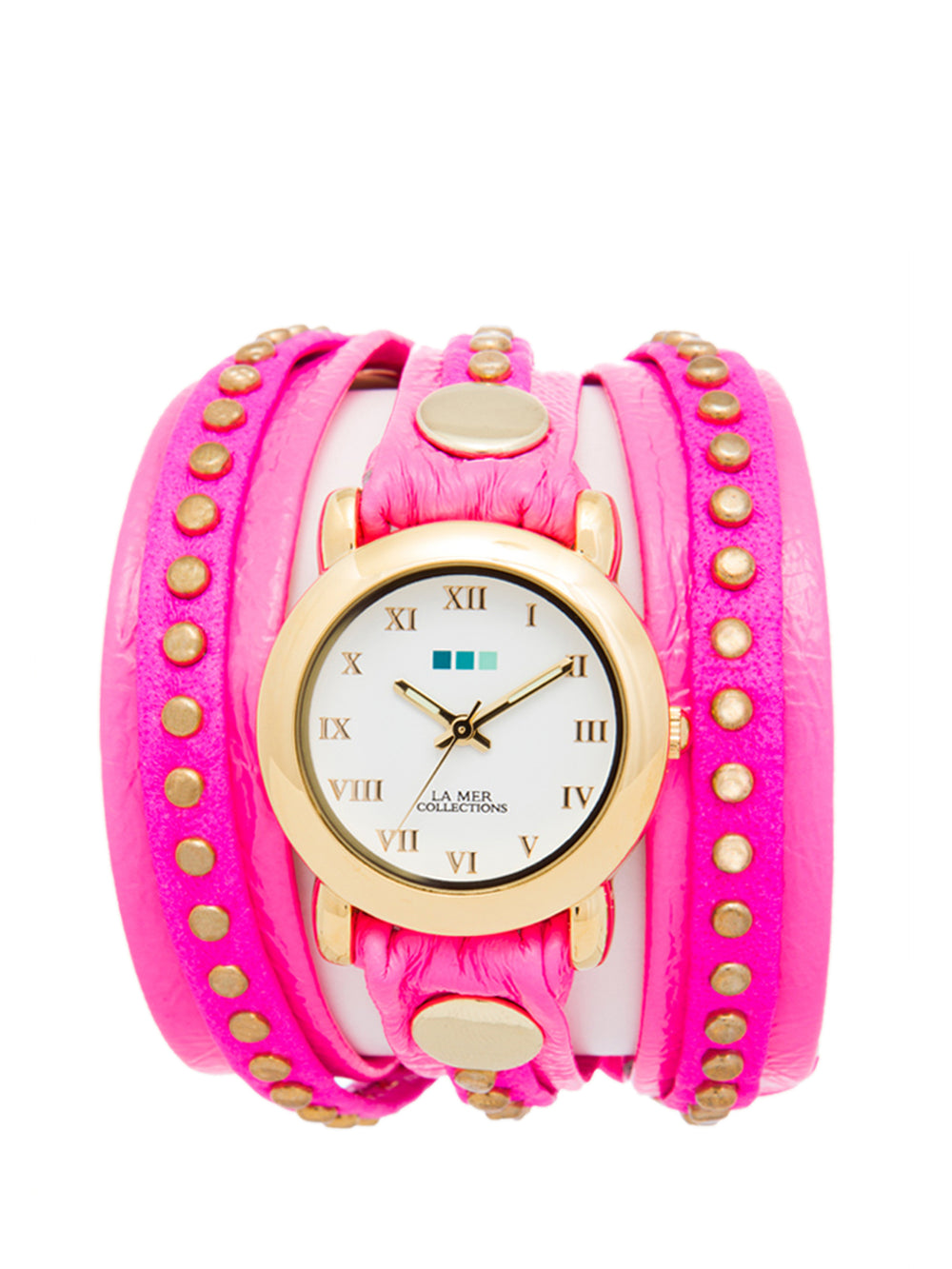 Neon Pink - Gold color watch, LA MER COLLECTIONS - elilhaam.com