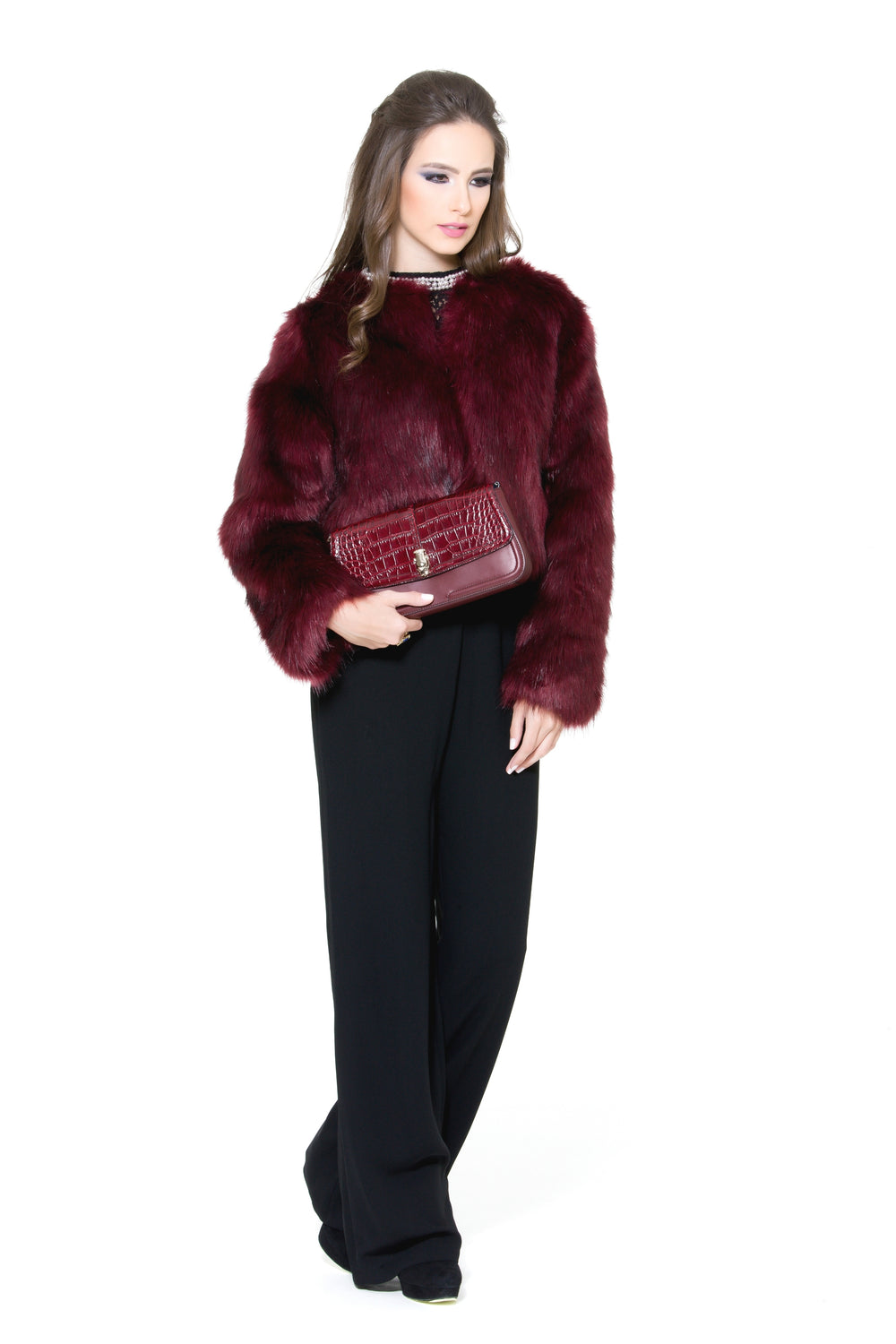 Maroon Fur Jacket, CJF - elilhaam.com
