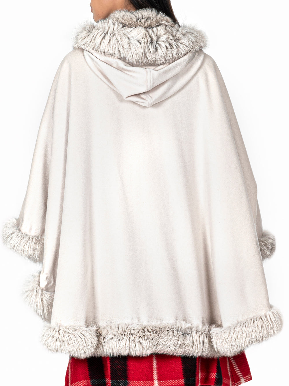 Fur-Trimmed Cashmere Cape