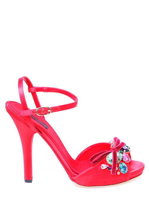 Red silk sandal, DOLCE AND GABBANA - elilhaam.com