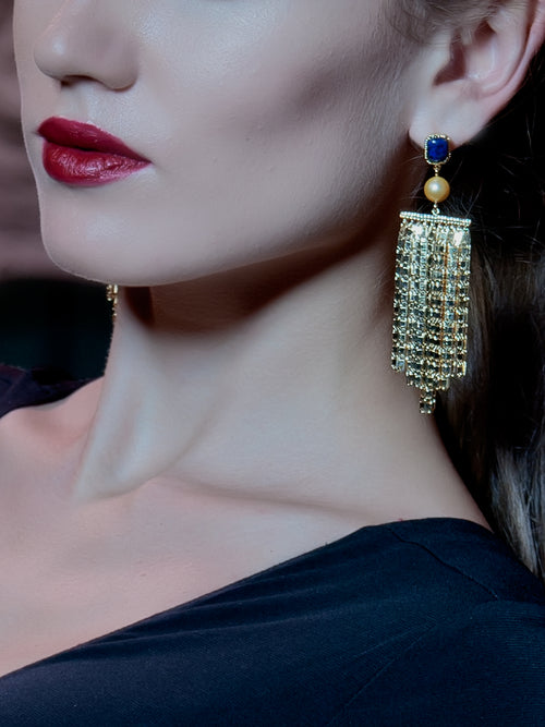 Fringe Earrings blue lapis, ISHARYA - elilhaam.com