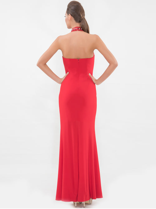 Red Diamond Cut High-low gown, VITTORIA ROMANO - elilhaam.com