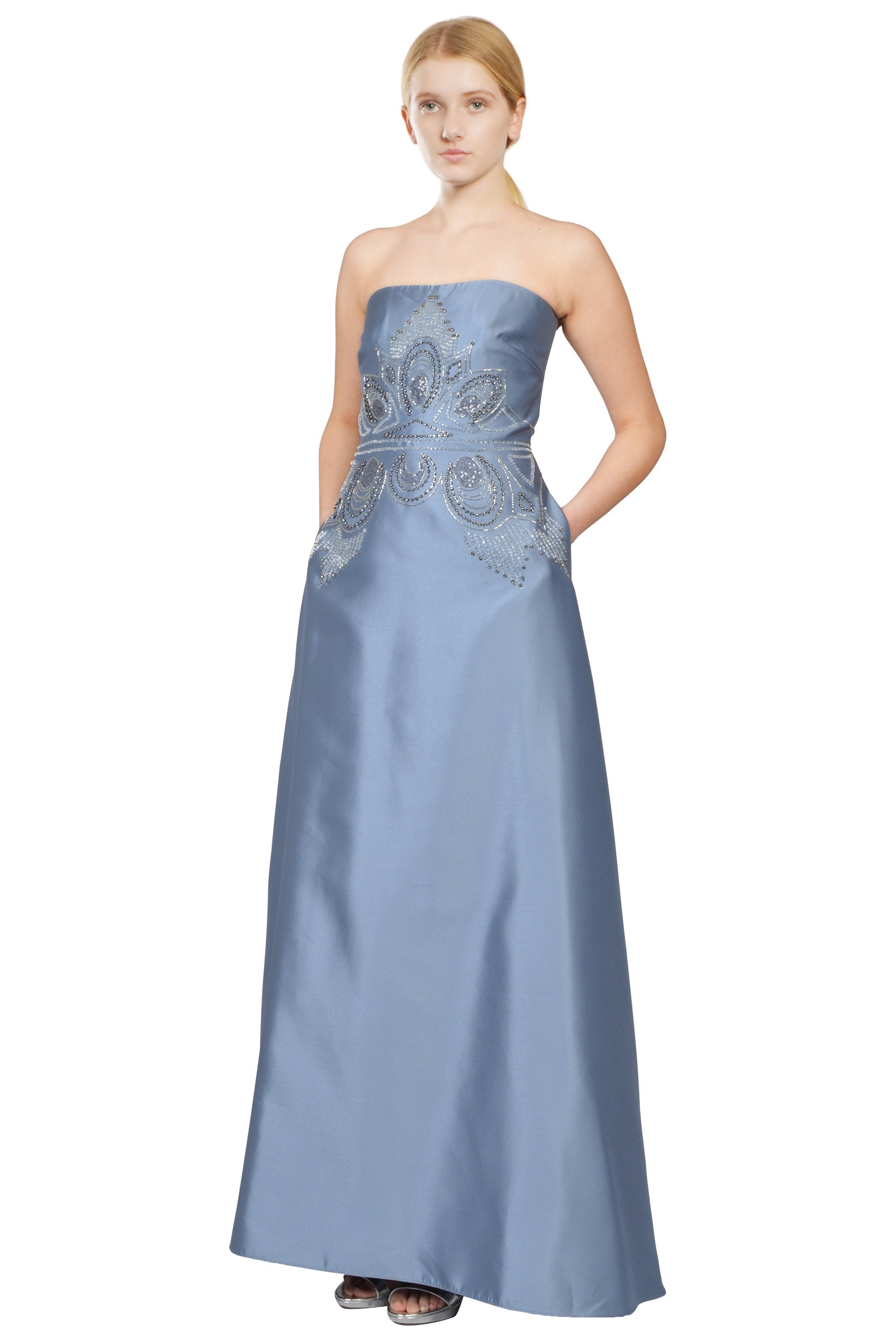 Icy Blue Strapless Silky Twill Beaded Evening Gown – Elilhaam