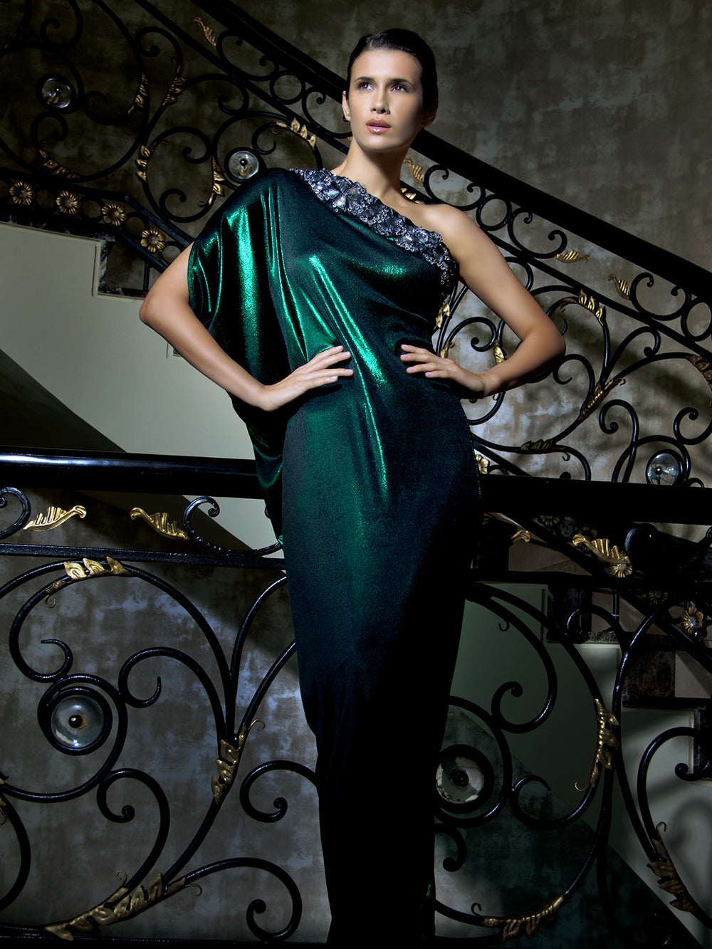 Asymetric Metallic Gown In Green