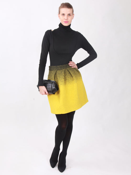 Two Toned Yellow Wool Skirt, Clothes,Designers, JC DE CASTELBAJAC - elilhaam.com