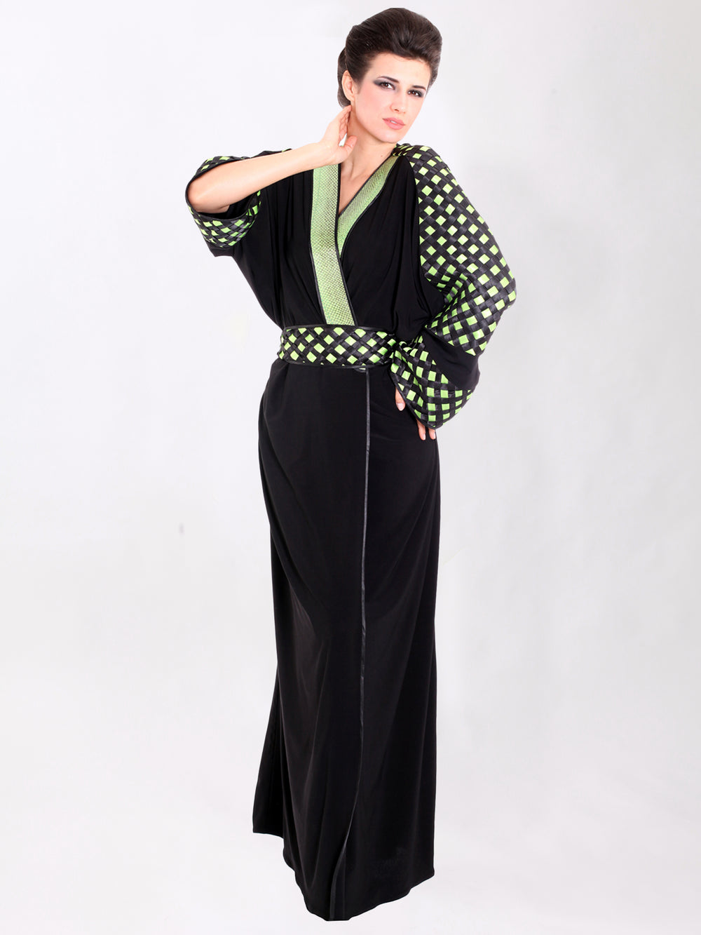 Apple Green Basket Weave Abaya, QUEEN OF SPADES BY LAMYA ABEDIN - elilhaam.com