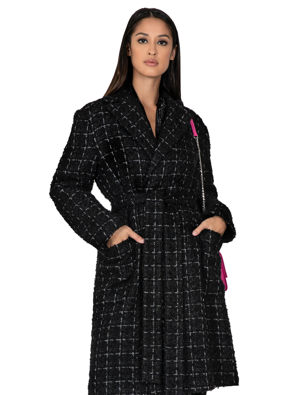 Black Wool Tweed Trench Coat