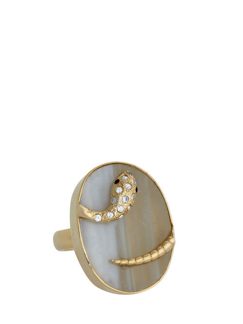 Druzy Snake Ring, Accessories,Designers, ISHARYA - elilhaam.com