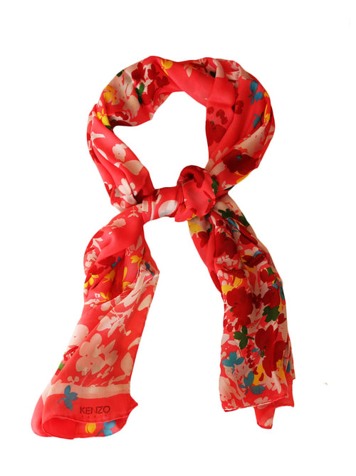KENZO-FLORAL-CORAL-SCARF