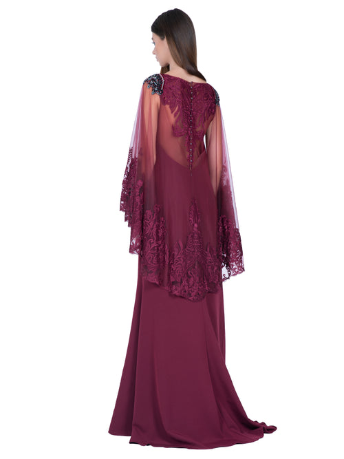 Lace Embroidered Cape Gown