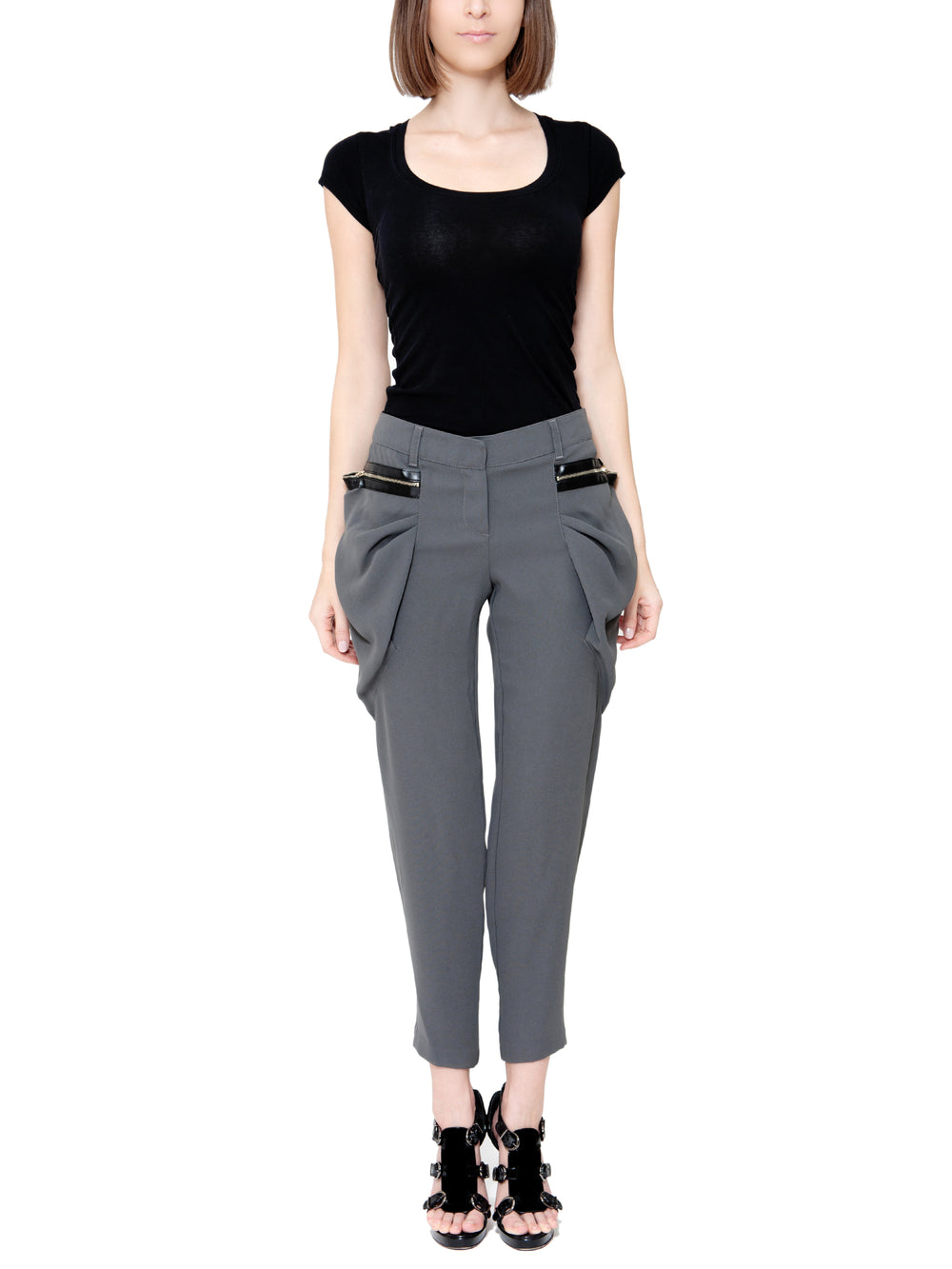 Cropped Trousers With Puffed Pockets