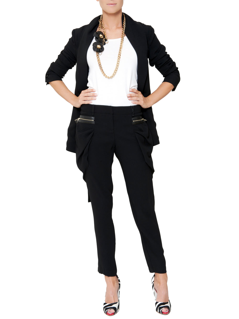 Black Cropped Trousers With Puffed Pockets