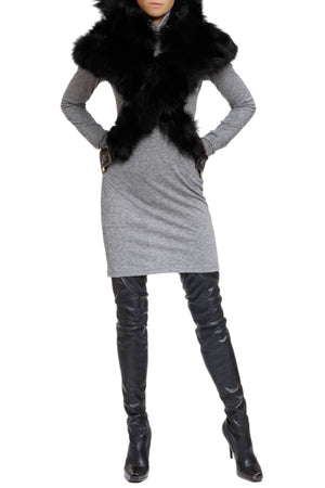 Cropped Fur-Blend Hooded Neck Cape