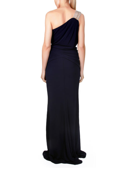Embellished One-Shoulder Evening Gown, Clothes,Designers, BADGLEY MISCHKA - elilhaam.com