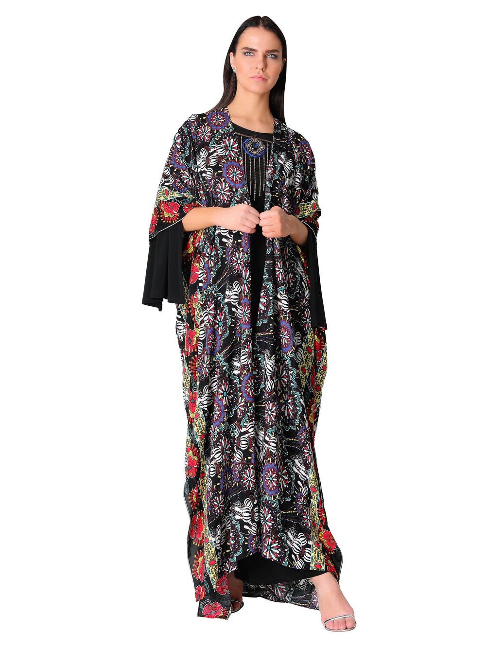 Floral Print Open Kaftan Dress