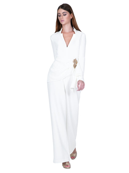 Embellished White Drapped Jumpsuit