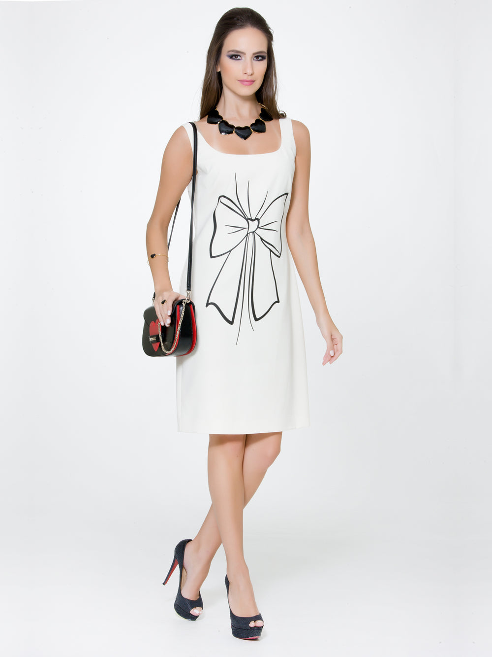 Off-White Bow Print Dress, BOUTIQUE MOSCHINO - elilhaam.com