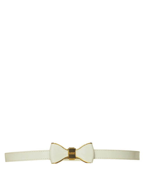 White Metal Bow Leather Belt, Accessories,Designers, BADGLEY MISCHKA - elilhaam.com