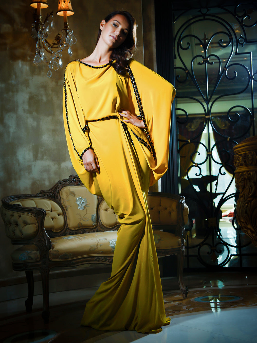 Mustard Crepe Gown