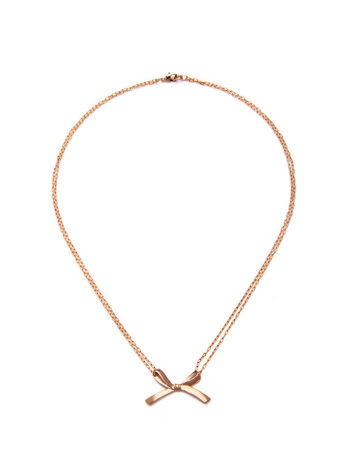 Rosegold Single Bow Necklace, TULESTE - elilhaam.com
