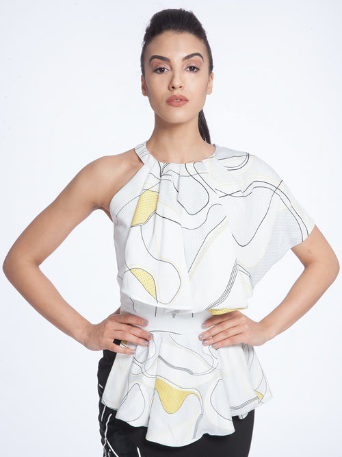 White &Yellow Peplum Top, AVARO FIGLIO - elilhaam.com