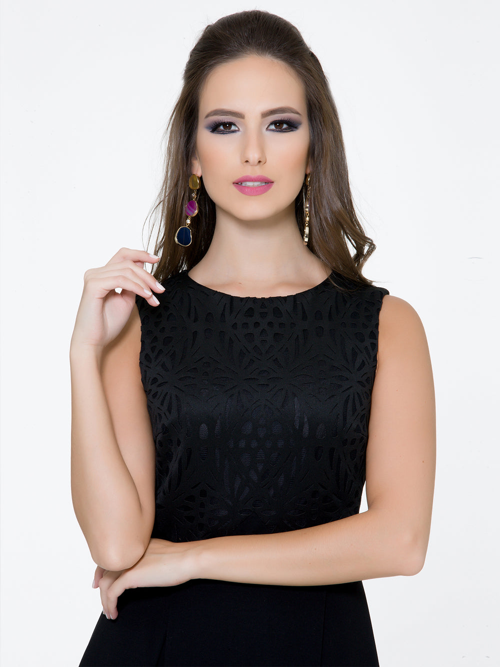 Black Laser Cut Dress, BYBLOS - elilhaam.com