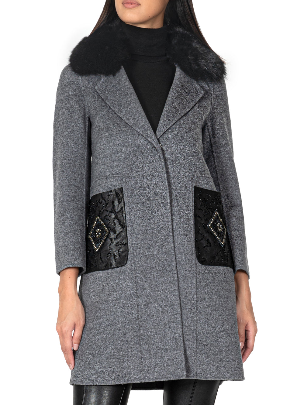 Fur-Trimmed Wool-Blend Coat