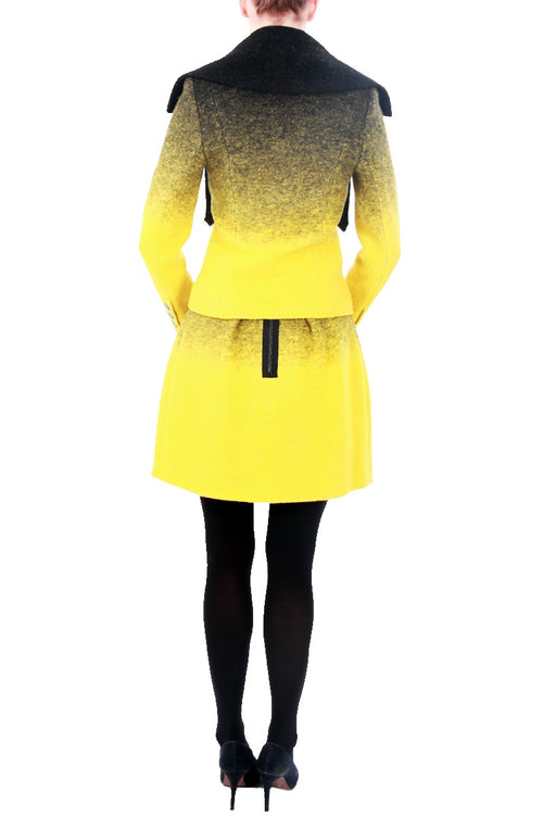 Two Toned Yellow Wool Jacket, Clothes,Designers,Smart Casuals, JC DE CASTELBAJAC - elilhaam.com