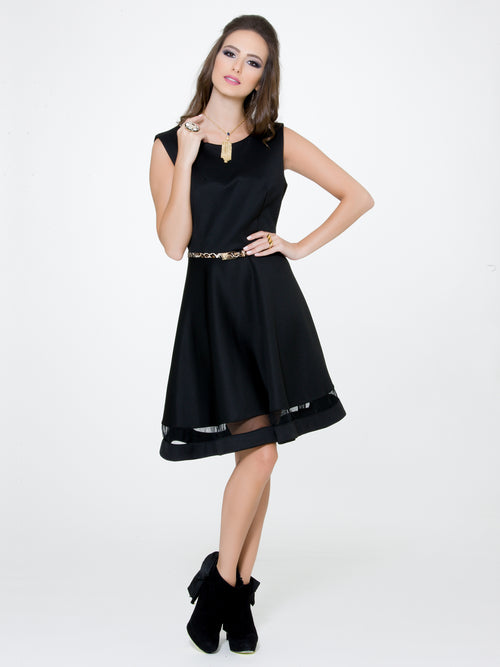 Black Belted Flare Dress, CJF - elilhaam.com