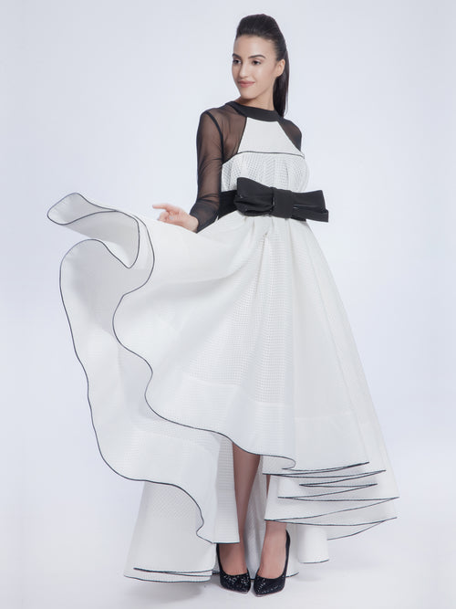 White Pleated High-Low Dress, AVARO FIGLIO - elilhaam.com