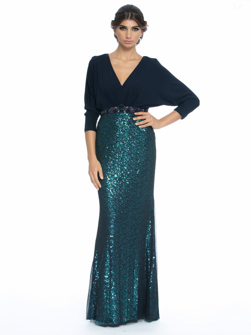 Sequined Dolman-Sleeve Evening Gown, New,Clothes,Designers,Sparkle In Style,Wedding Season Dresses, BADGLEY MISCHKA - elilhaam.com