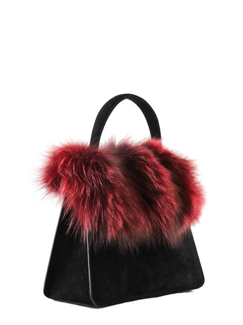 Bordeaux Fox Fur Top Handle Bag