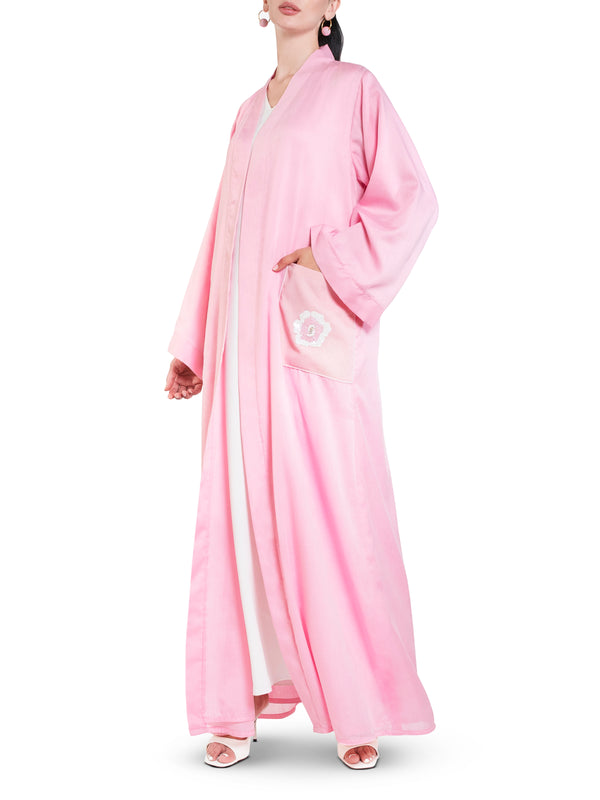 Baby Pink Embellished Pocket Abaya