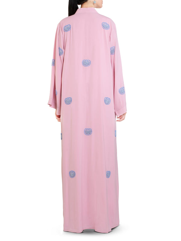 Pink All-Over Shell Embroidered Abaya
