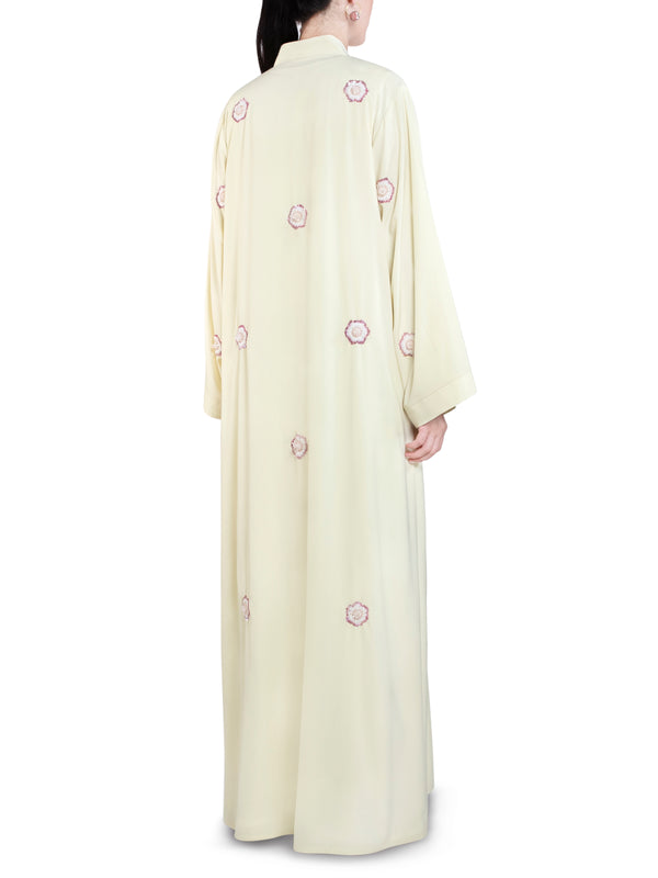Yellow All-Over Embroidered Abaya